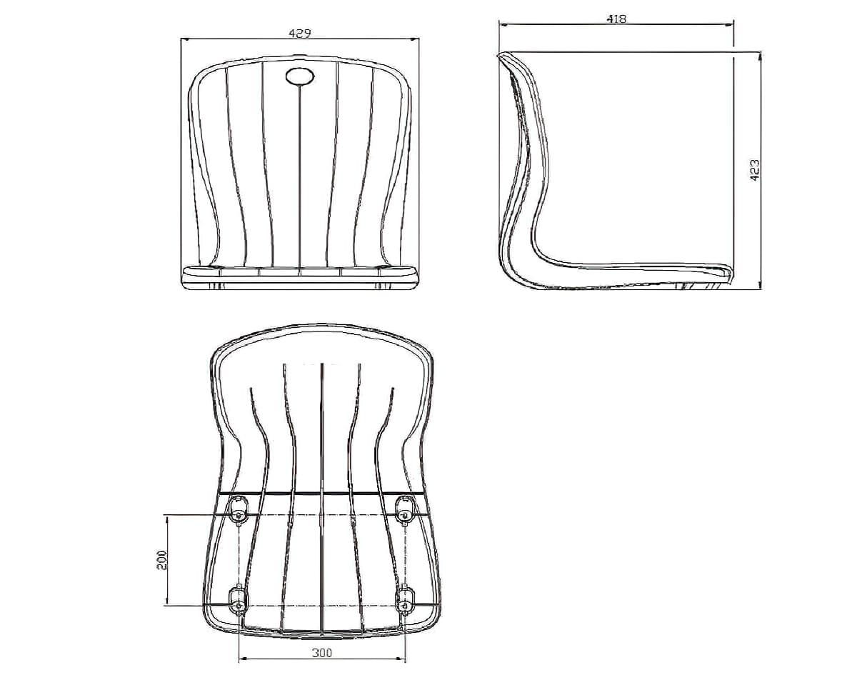 Размер сиденья стадионного пластикового с 4 креплениями