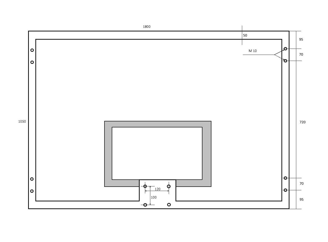 Щит баскетбольный с закаленным стеклом - схема и размеры